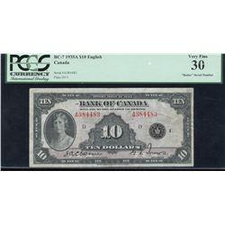 Bank of Canada $10, 1935 - Radar Serial Number