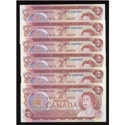 Bank of Canada $2, 1974 - Radar Lot of 6 Notes