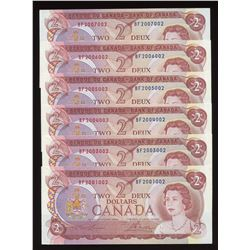 Bank of Canada $2, 1974 - Radar Lot of 6 Notes