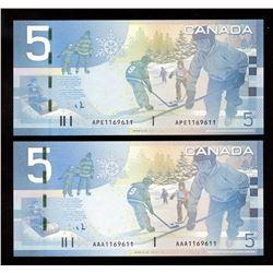 Rare Matching Number Consecutive Set - Bank of Canada $5, 2006 Matched Number Radar Set