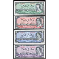 Bank of Canada $1, $2, $5, $10, 1954 Consecutive Ascending Ladder Numbered Notes