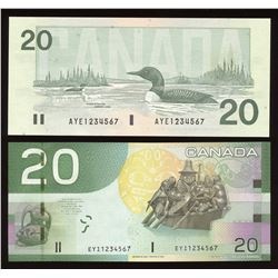 Bank of Canada $20, 1991 & 2004 Ascending Ladder Numbered Notes