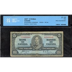 Bank of Canada $5, 1937 Million Numbered Note