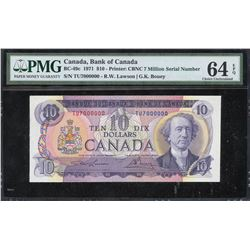 Bank of Canada $10, 1971 Million Numbered Note
