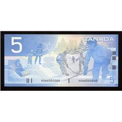 Bank of Canada $5, 2002 Million Numbered Note