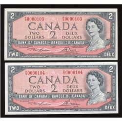 Bank of Canada $2, 1954 - Low Serial Numbered Consecutive Pair