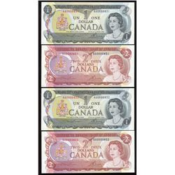 Bank of Canada $1 & $2 Low Serial Numbered Lot of 4 Pairs