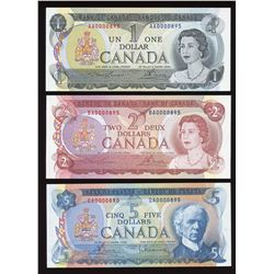Bank of Canada $1, $2 & $5 Low Serial Numbered Trio