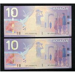 Bank of Canada $10, 2005 - Low Serial Numbered Consecutive Pair