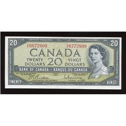 Bank of Canada $20, 1954 - Mismatch Serial Number Error