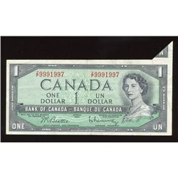 Bank of Canada $1, 1954 - Cutting Error
