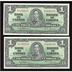 Bank of Canada $1, 1937 - Lot of 2 Consecutive Notes