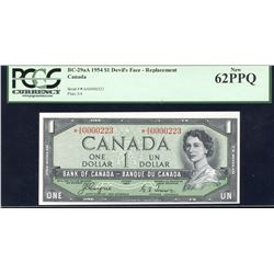 Bank of Canada $1, 1954 - Devil's Face Replacement Note