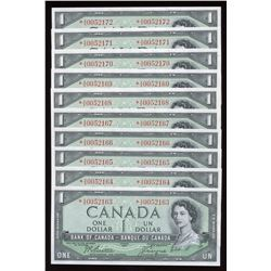 Bank of Canada $1, 1954 - Lot of 10 Consecutive Replacement Notes