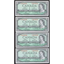 Bank of Canada $1, 1954 - Lot of 4 Consecutive Replacement Notes