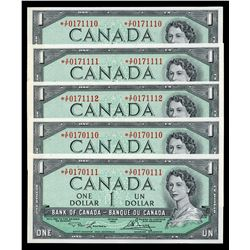 Bank of Canada $1, 1954 - Lot of 5 Replacement Notes