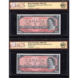 Bank of Canada $2, 1954 - Lot of 2 Consecutive Replacement Notes