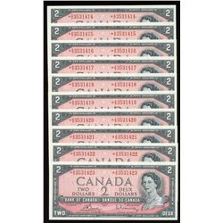 Bank of Canada $2, 1954 - Lot of 10 Consecutive Replacement Notes