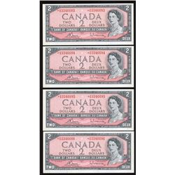 Bank of Canada $2, 1954 - Lot of 4 Consecutive Replacement Notes