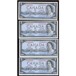 Bank of Canada $5, 1954 - Lot of 4 Consecutive Replacement Notes
