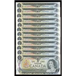 Bank of Canada $1, 1973 - Lot of 12 Consecutive Replacement Notes