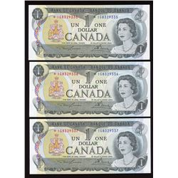 Bank of Canada $1, 1973 - Lot of 3 Consecutive Replacement Notes