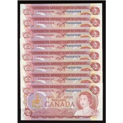 Bank of Canada $2, 1974 - Lot of 8 Replacement Notes