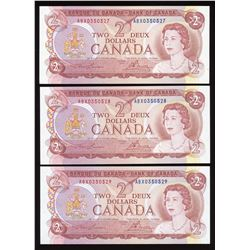 Bank of Canada $2, 1974 - Lot of 3 Consecutive Replacement Notes