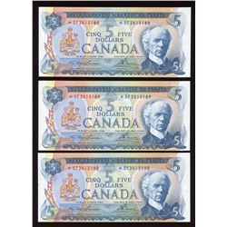 Bank of Canada $5, 1972 - Lot of 3 Replacement Notes