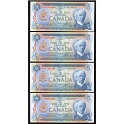 Bank of Canada $5, 1972 - Lot of 4 Consecutive Replacement Notes