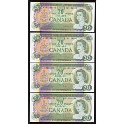Bank of Canada $20, 1969 - Lot of 4 Consecutive Replacement Notes