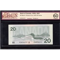 Bank of Canada $20, 1991 Changeover Note