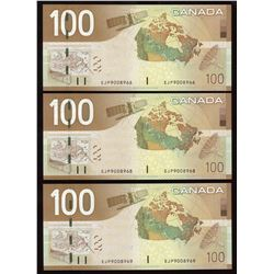 Bank of Canada $100, 2004 - Lot of 3 Notes