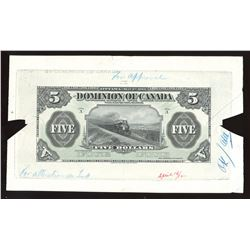 Dominion of Canada, $5, 1912. Production face proof/essay