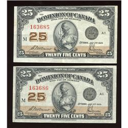 1923 Dominion of Canada 25 Cents - Lot of 2 Consecutive Notes