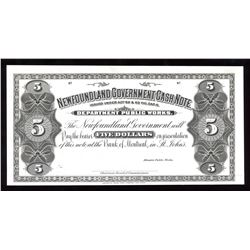 Newfoundland Government Cash Note Five Dollars - B & W Proof