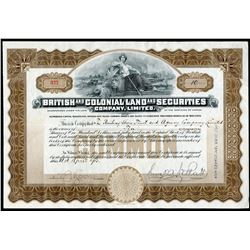 British Colonial Land & Securities Co. Ltd. 10 shares, 1913