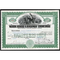 Western Agencies & Development Co. Ltd. 57 shares, 1922