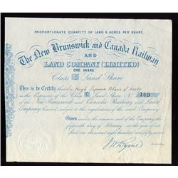 New Brunswick and Canada Railway Land Company One Share, 1857