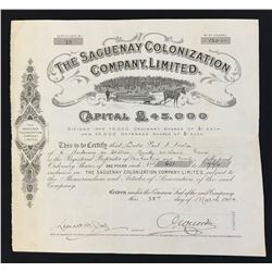 Saguenay Colonization Co. Ltd 120 shrs, 1904