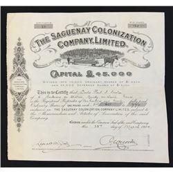 Saguenay Colonization Co. Ltd 120 shrs, 1904