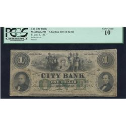 City Bank, Province of Canada $1, 1857