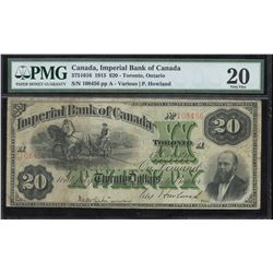Imperial Bank of Canada $20, 1915