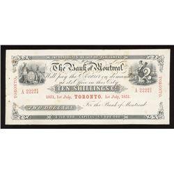 Bank of Montreal $2, Ten Shillings. July 1, 1851