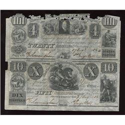 The New Castle District Loan Company $4 & $10, 1836 uncut sheet.