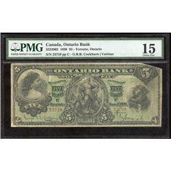 Ontario Bank $5.Jan. 1st, 1898