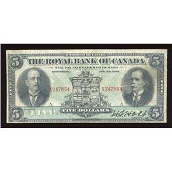 Royal Bank of Canada $5. Jan 2nd, 1913