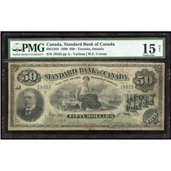 Standard Bank of Canada. Ultra Rare $50, 1890.