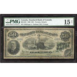 Standard Bank of Canada. Ultra Rare $50, 1890.