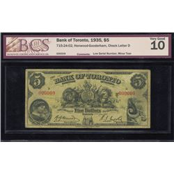 Bank of Toronto $5, 1935